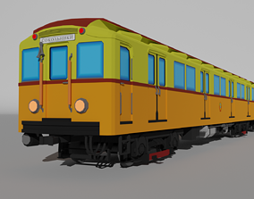 3D asset Low Poly Moscow Subway Train Type A-B
