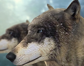 Textured Low Poly Wolf 3D