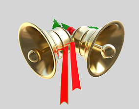 Xmas bells 3D model game-ready