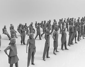Low poly silhouette people pack - 115 pcs 3D model