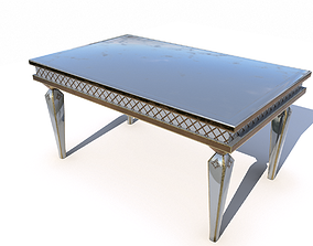 Metal dining table PBR 3D model