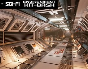 3D asset Retro Sci-fi Modular Environment Kitbash