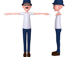 Man with glasses cartoon 3D