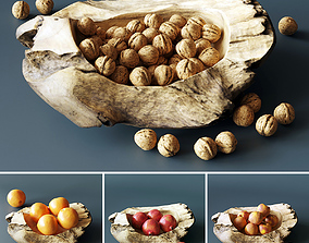 3D Decorative bowl with walnuts and fruits