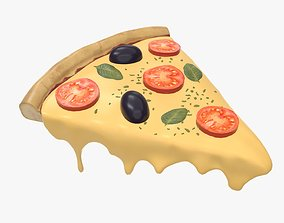 Pizza slice with melted dripping cheese 3D model