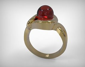 3D printable model Jewelry Golden Ring With Round Ruby
