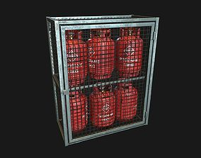 3D asset Low Poly PBR 19kg Gas Bottle with Storage