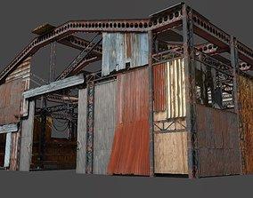 3D model Lowpoly rusty hangar
