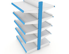 Supermarket Double Shelf Module 3D