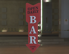 BAR Open Daily sign LED Marquee 3D asset