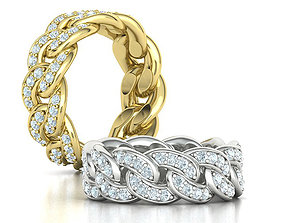 DIAMOND Cuban Link Heavy Chain Ring 9mm Wide 10US Size