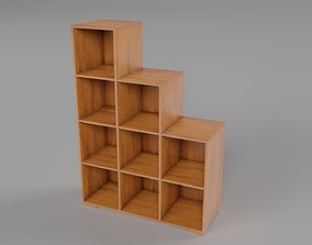 Wooden Book Shelf 3D model low-poly