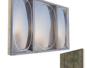 Bathroom Wall Storage Mirror with Crack and Rusty 3D model