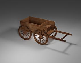 3D asset game-ready Medieval Cart