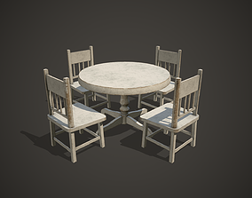 Table and Chairs 3D model realtime table