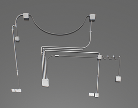 Metal Electric wall wires set 3D model