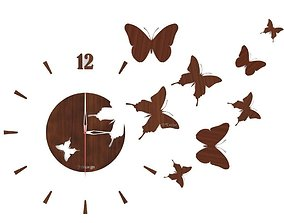 3D model wall clock with butterfly
