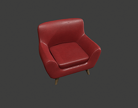 Red Leather Armchair 3D model low-poly