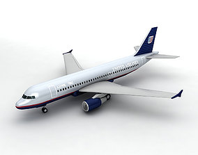 Airbus A320 Airliner - United Airlines LOW 3D model