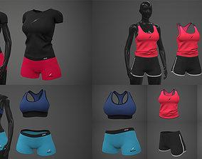 3D model Female Sportswear gym clothing PBR Pack of 3