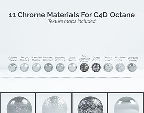 11 Chrome Materials for C4D Octane render 3D