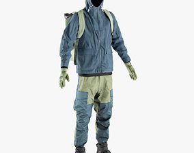 Mens Pants with Pullover Jacket Boots Backpack 3D model 2