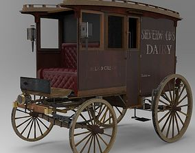 Commercial Horse-Drawn Wagon 3D model