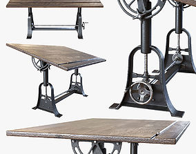 3D 1910 American Trestle Drafting Table