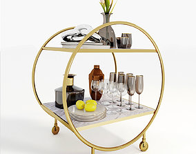 Serving trolley with decor 3D