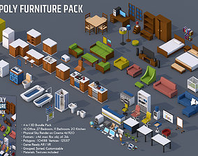 3D model 100 Low Poly Furniture Pack 4 in 1