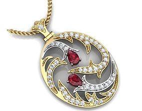 3D jewelry Gold Pendant