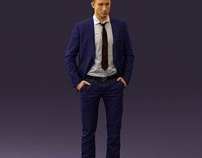 Man in blue suit open jacket 0550 3D Print Ready