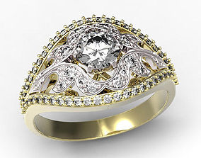 Gold ring with a diamond 3D print model gold