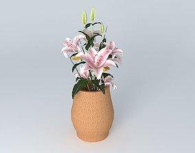 Clay Pot w Flowers 3D model