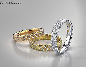 Gold Rings with diamonds 3D printable model precious