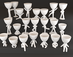 20 Pot plants with little person style 3D printable