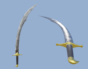 Scimitar curved sword 3D asset