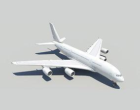 3D asset Airbus A380 with landing gear