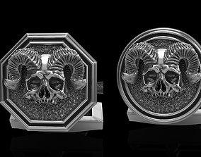 3D gold skull cufflinks 2