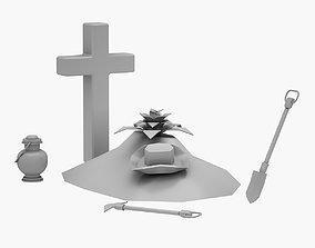 Lowpoly Grave 02 3D model