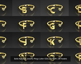 Solid Alphabet Jewelry Rings Letter COLLECTION 3D model