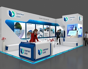 Exhibition stall 3d model 8x4 mtr 2 sides open Stand