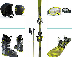 3D Winter Sport Equipment Ski and Snow