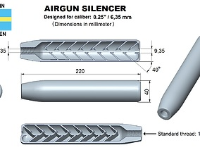 Airgun silencer superior caliber 25 3D print model