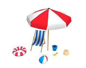 3D model Beach props pack