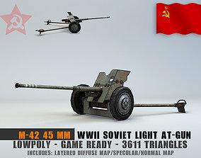 Low Poly 45 mm anti-tank gun M-42 3D asset