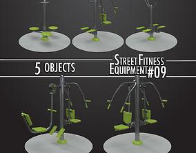 3D Street Fitness Equipment 5objects 09