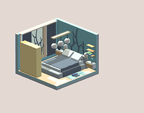 Isometric cartoon bedroom 3D asset