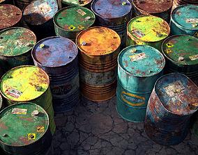 9 Industrial Barrels 3D asset