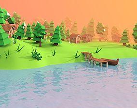 Village 3D model low-poly
